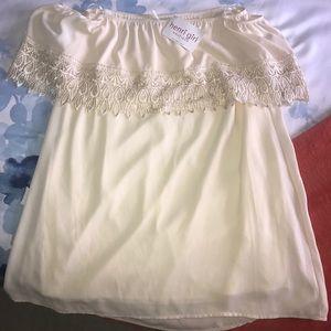 Off the shoulder cream/off white dress